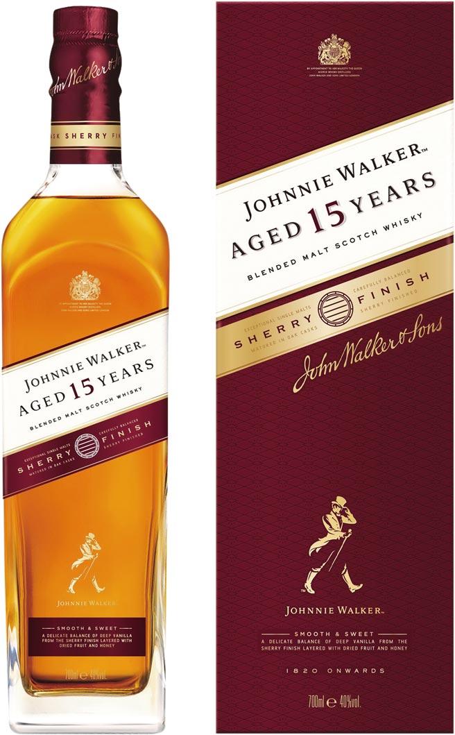 家樂福量販中秋檔期,約翰走路15年雪莉桶風味威士忌,700毫升,原價1,400元,特價1,249元/盒。圖/業者提供