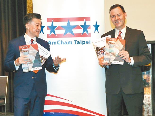 台北市美國商會與華府美台商會昨成立台美BTA聯盟,圖為台北市美國商會今年發布台灣白皮書記者會。(本報資料照片)