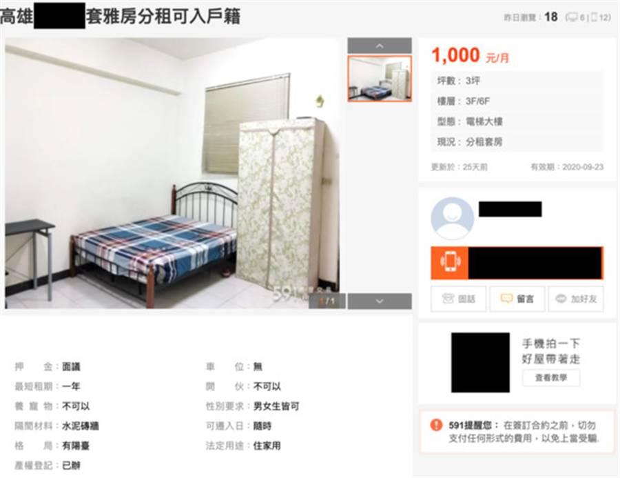 高雄床位月租僅1千元(圖片取自/591租屋網)