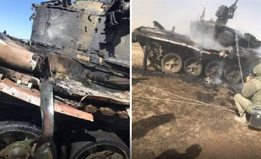 T-90戰車在演習期間遭到反戰車飛彈擊中,所幸沒有擊穿。(圖/Dmitry Gagarin攝)
