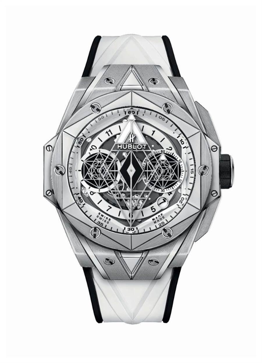 宇舶表BIG BANG UNICO SANG BLEU II刺青墨白計時碼表,鈦金屬款,全球限量200只,78萬2000元。(HUBLOT提供)