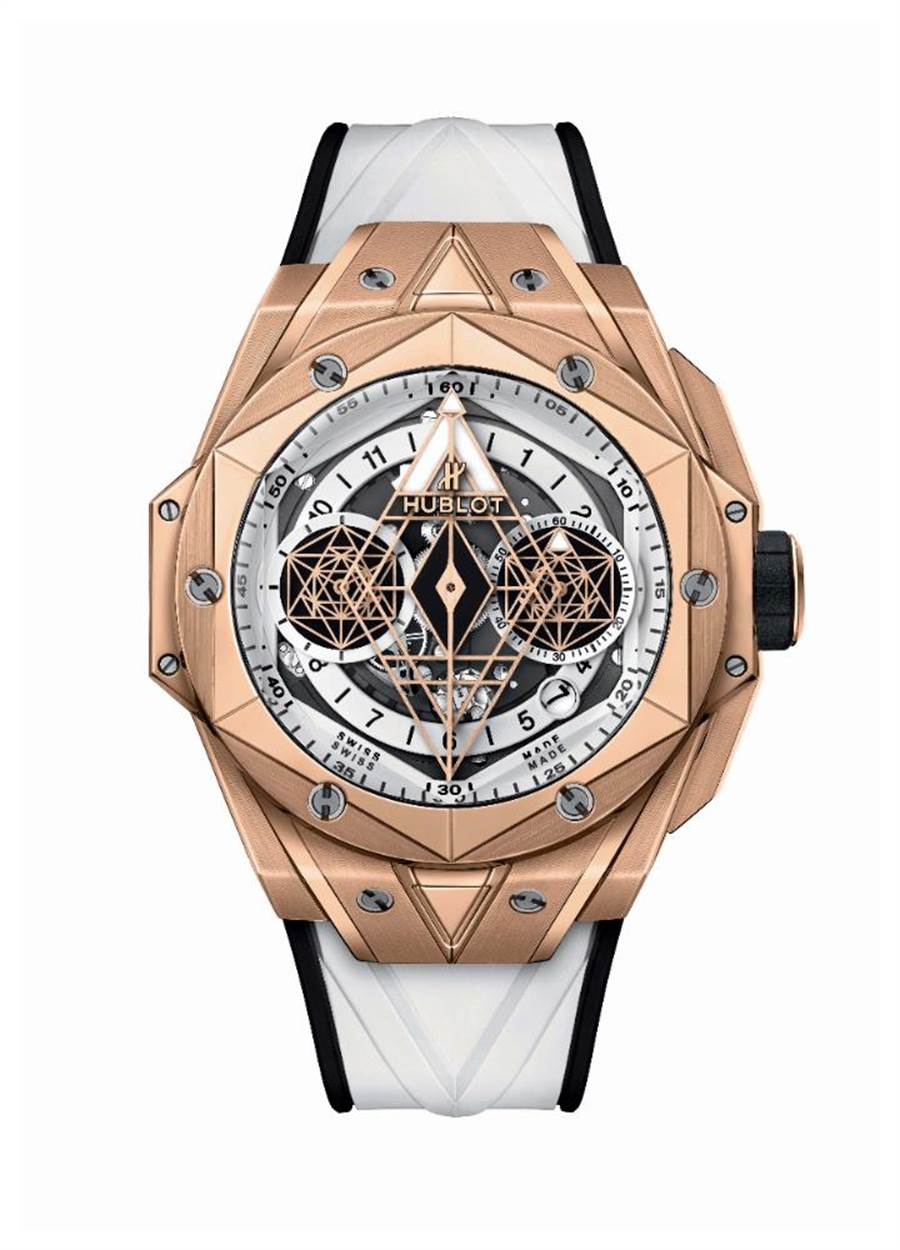宇舶表BIG BANG UNICO SANG BLEU II刺青墨白計時碼表,皇金款,全球限量100只,146萬9000元。(HUBLOT提供)