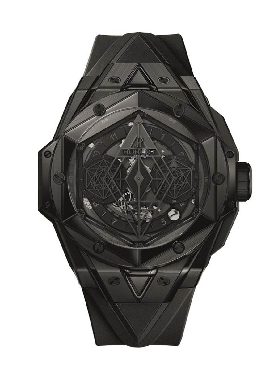 舶表BIG BANG UNICO SANG BLEU II刺青全黑腕表,全球限量200只,84萬7000元。(HUBLOT提供)