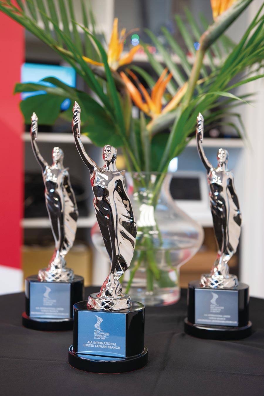 AIA友邦人壽連續三年獲HR Asia「亞洲最佳企業雇主獎」肯定。圖/友邦提供