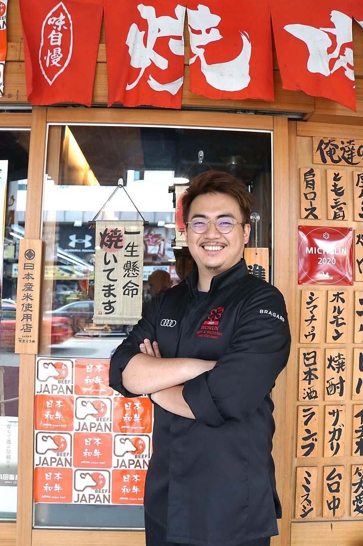 台中米其林一星餐廳〈俺達的肉屋〉主廚鍾佳憲,每天會花時間到日本燒肉名店見學,並到日本和牛產地取經。(圖/姚舜)