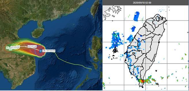 氣象局「路徑潛勢預測圖」及「暴風侵襲機率圖」(左圖)顯示,紅霞通過海南島南方海面,18日午登陸越南中部。今晨2時雷達監測顯示,恒春半島有回波發展並通過(右圖)帶來降雨。(圖擷自吳德榮專欄)
