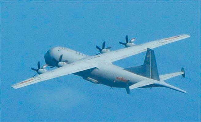 空軍司令部17日公布,16日中共運8反潛機2架次進入我識別區。圖為中共運8反潛機。(空軍司令部提供)