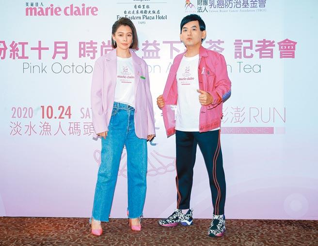 徐若瑄(左)、黃子佼17日出席「裙擺澎澎RUN」公益活動擔任大使,神情凝重。(粘耿豪攝)