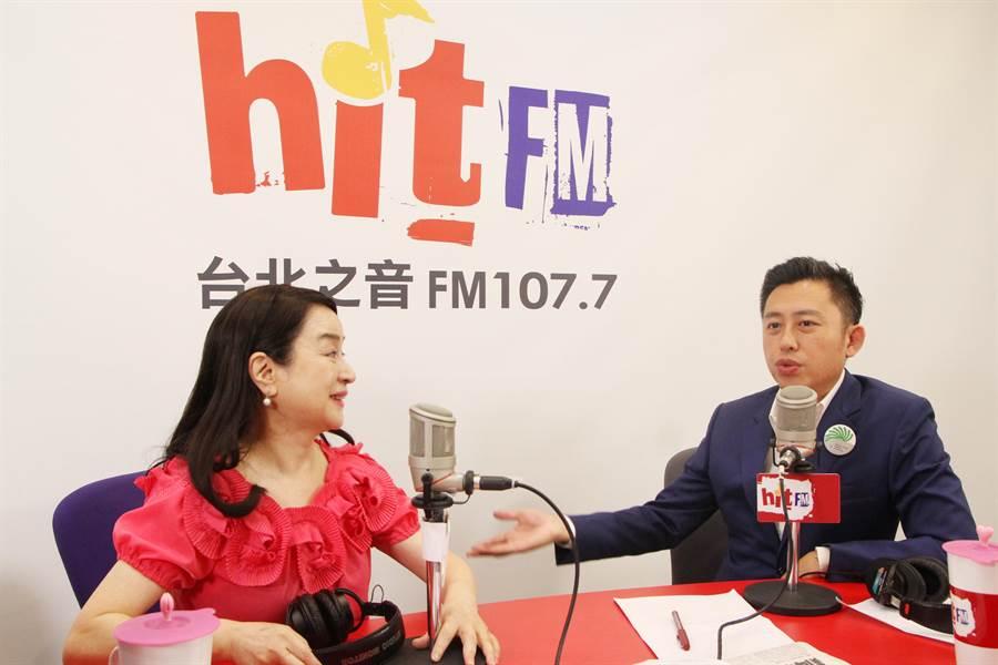 新竹市長林智堅(右)18日上廣播節目受訪,談論市長任期屆滿後下一步的規畫。(「Hit Fm《周玉蔻嗆新聞》製作單位提供/邱立雅竹市傳真)