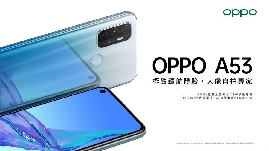 OPPO A53搭載了 5000mAh大電量與支援90Hz螢幕刷新率的6.5吋靈點全螢幕,為消費者帶來長效娛樂體驗。(OPPO提供/黃慧雯台北傳真)