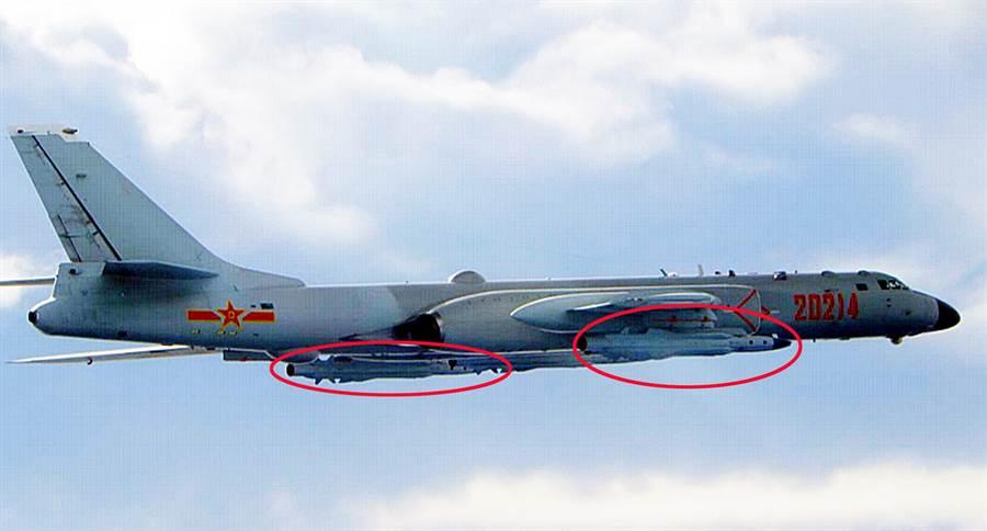 國防部今公布共機轟六型,但轟六沒越中線。國防部提供