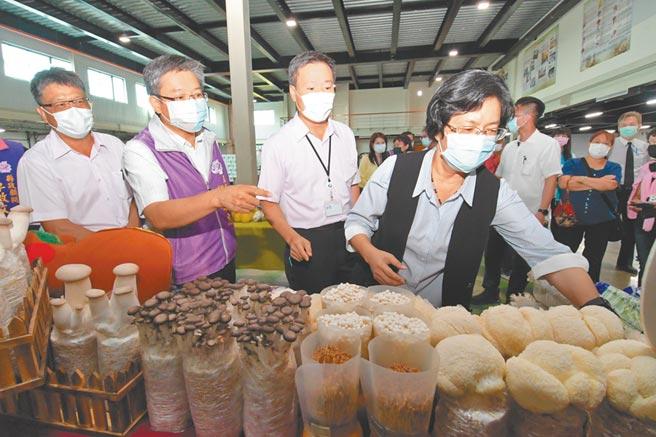 彰化縣是菇類大縣,縣長王惠美參訪彰化縣菇類生產合作社,表示今年外銷要突破1000公噸不是夢。(吳敏菁攝)