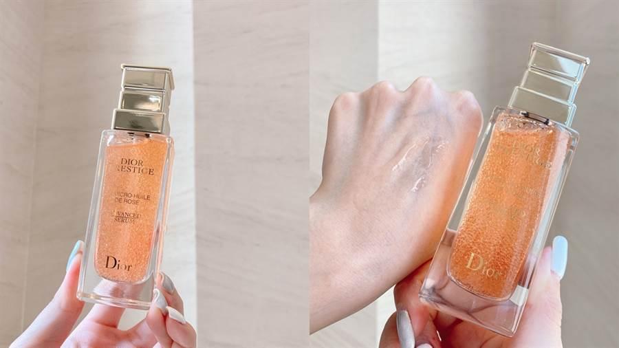 Selina分享自己使用迪奧精萃再生玫瑰微導精露時會搭配自創的「玫瑰捧花按摩法」。(圖/邱映慈攝影)