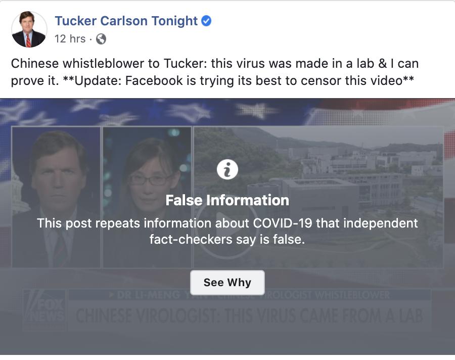 《紐約時報》直言,閻麗夢的論文缺乏科學界背書,仍無法證實病毒是出於實驗室,已遭臉書標記「不實訊息」,推特也將她的帳號關閉。圖為福斯主持人卡爾森專訪閻麗夢的內容被臉書標記為不實訊息。(圖擷取自臉書)