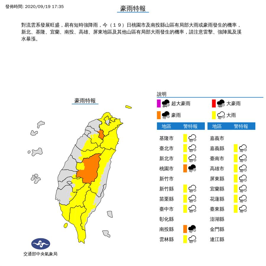 雨勢再升級!氣象局發布16縣市豪雨、大雨特報。(圖由氣象局提供)