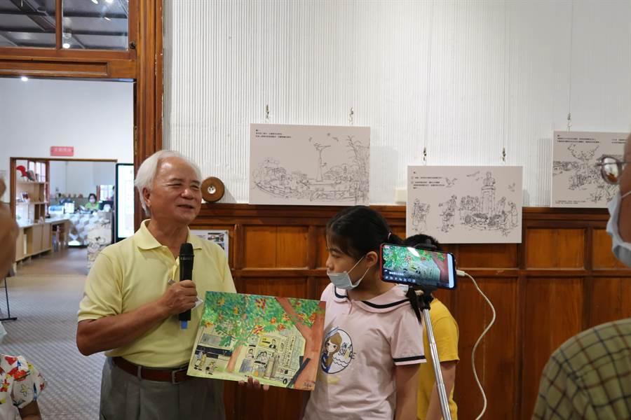 即日起至10月4日在台南愛國婦人會館一樓舉辦「湯德章繪本插畫藝術特展」。(曹婷婷攝)