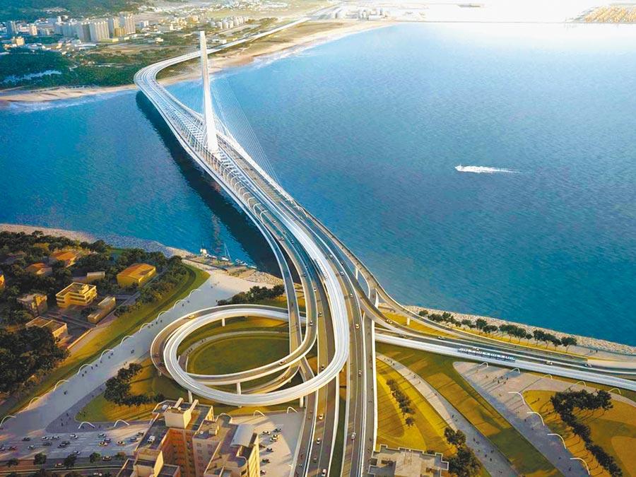淡江大橋是普立茲克建築獎大師札哈·哈迪德(Zaha Mohammad Hadid)在台唯一一件作品。圖為淡江大橋模擬圖。(新北市交通局提供)