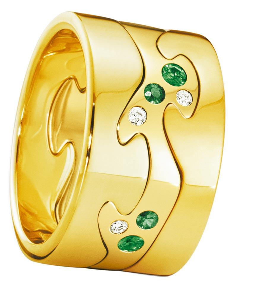 喬治傑生FUSION年度限量訂製黃K金3件式戒指,鑲嵌沙佛萊石、鑽石等,約12萬6000元起。(GEORG JENSEN提供)