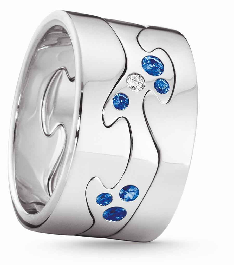喬治傑生FUSION年度限量訂製白金3件式戒指,鑲嵌藍寶石、鑽石等,約12萬7600元起。(GEORG JENSEN提供)