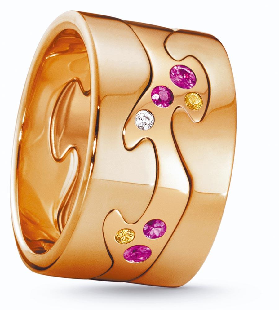 喬治傑生FUSION年度限量訂製玫瑰金3件式戒指,鑲嵌粉紅剛玉、黃色剛玉等,約12萬7600元起。(GEORG JENSEN提供)