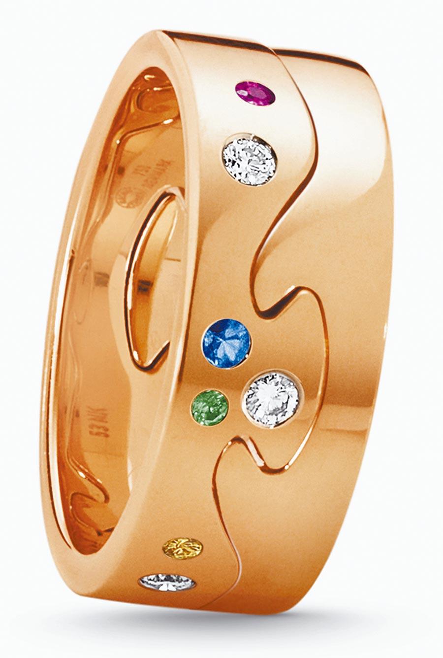 喬治傑生FUSION年度限量訂製玫瑰金2件式戒指,鑲嵌粉紅剛玉、黃色剛玉等,約9萬7000元起。(GEORG JENSEN提供)
