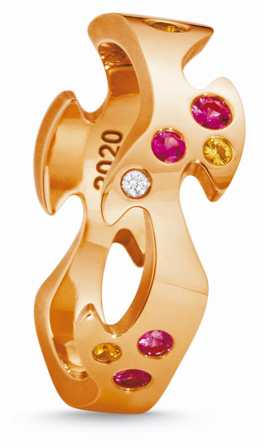 喬治傑生FUSION年度限量訂製玫瑰金中圈戒指,鑲嵌粉紅剛玉、黃色剛玉等,約6萬6600元起。(GEORG JENSEN提供)