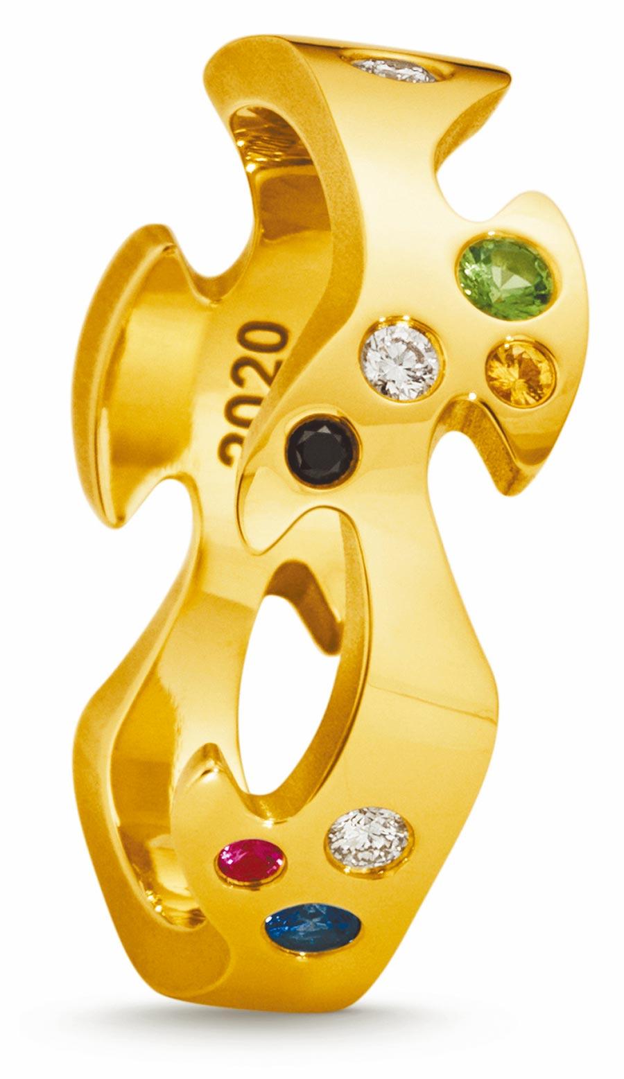喬治傑生FUSION年度限量訂製黃K金中圈戒指,鑲嵌沙佛萊石、鑽石等,約6萬6600元起。(GEORG JENSEN提供)