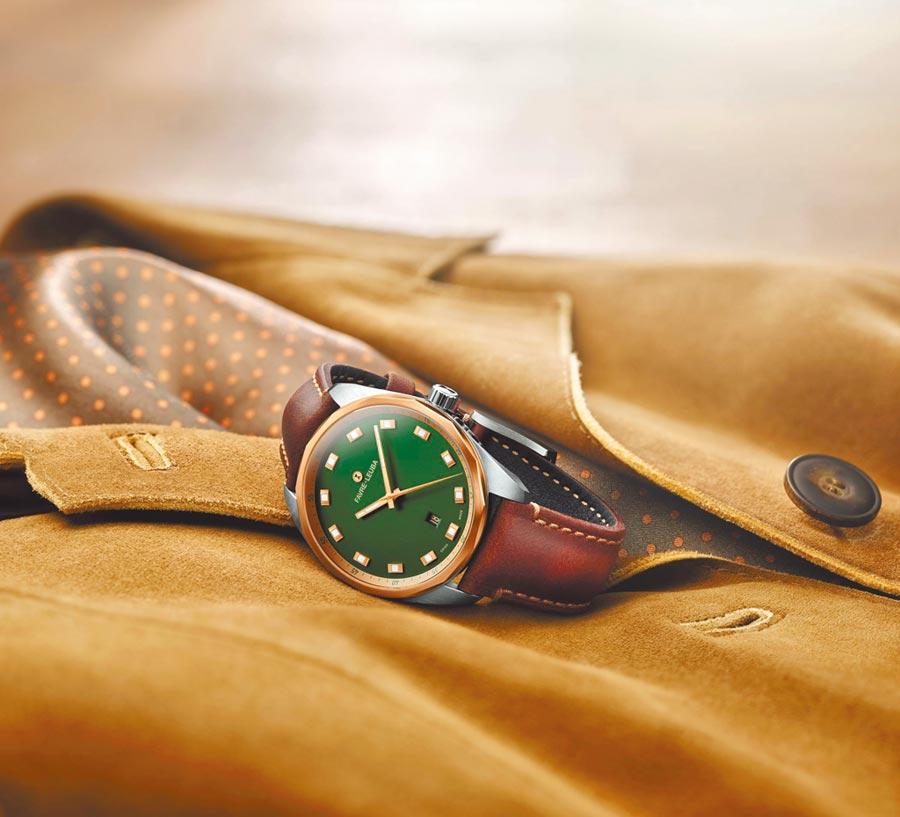 域峰表發表Sky Chief Date全系列新款紳士腕表,一改昔日狂野豪邁外型,展現優雅紳士的都會風貌。(Favre-Leuba提供)
