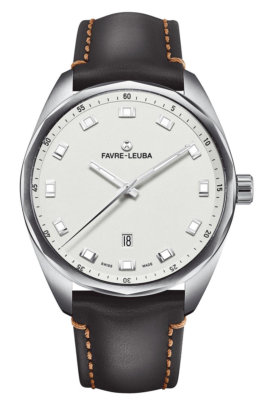 域峰表Sky Chief Date白色表盤腕表,43mm大表徑更加時尚,牛皮表帶款5萬8000元。(Favre-Leuba提供)