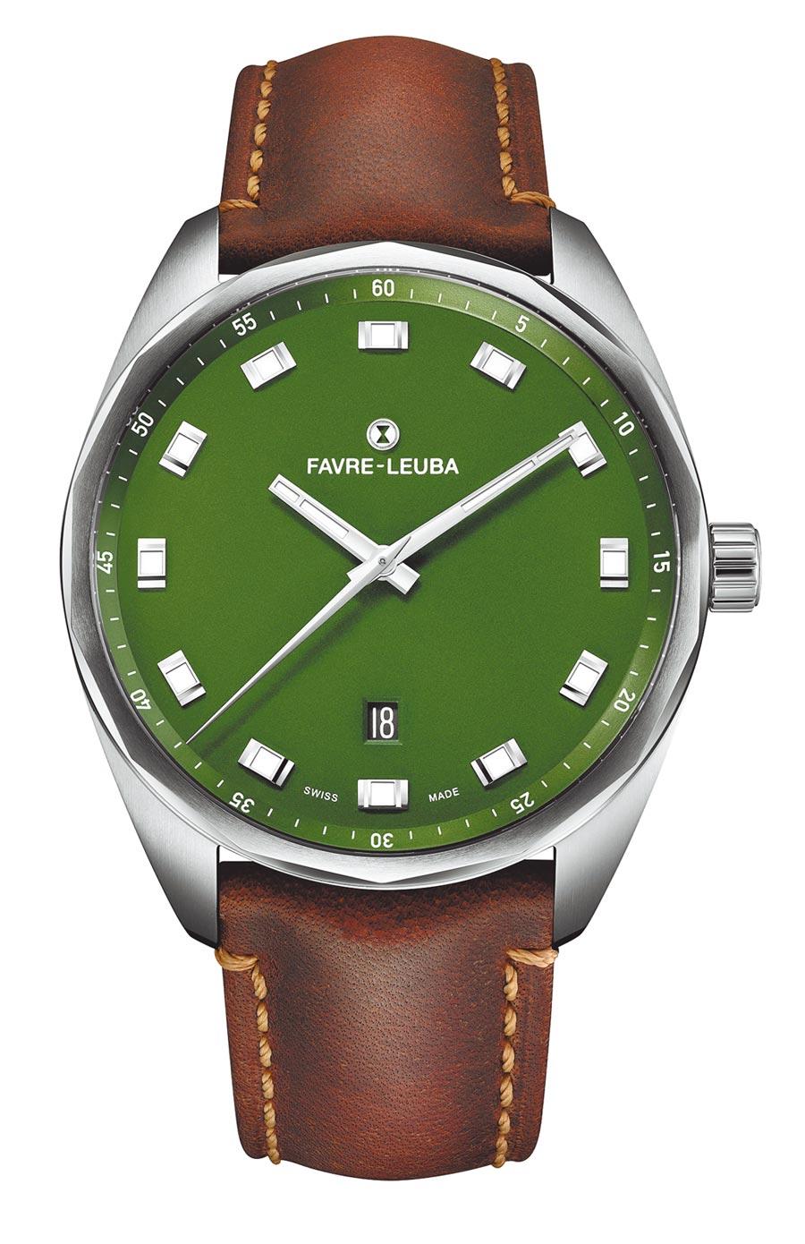 域峰表Sky Chief Date綠色表盤腕表,狂野中流露紳士品味,牛皮表帶款5萬8000元。(Favre-Leuba提供)