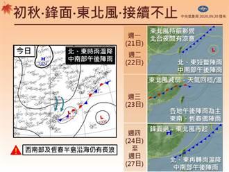 東北風增強鋒面再接力「秋涼有感」 一張圖秒懂下周雨勢變化