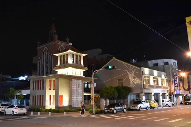 台南市麻豆老街天主堂、幼儿园整修,重要街景重放光明。(台南市文化局提供/刘秀芬台南传真)