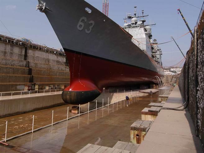 主動聲納位在艦艏下,黑色的部分就是聲納外罩的吸音材料。(圖/美國海軍)
