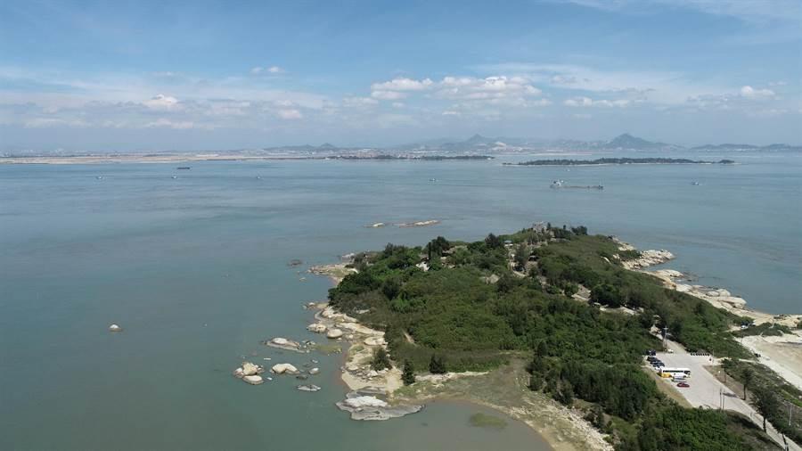 金門馬山港預定建設位置空拍圖。(金門縣府提供)