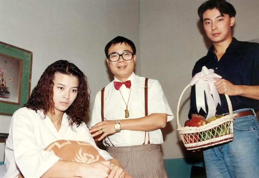 黎燕珊1992年曾來台拍中視連續劇《廈門新娘》。(左起)黎燕珊、廖峻、林煒。(羅繼志攝)