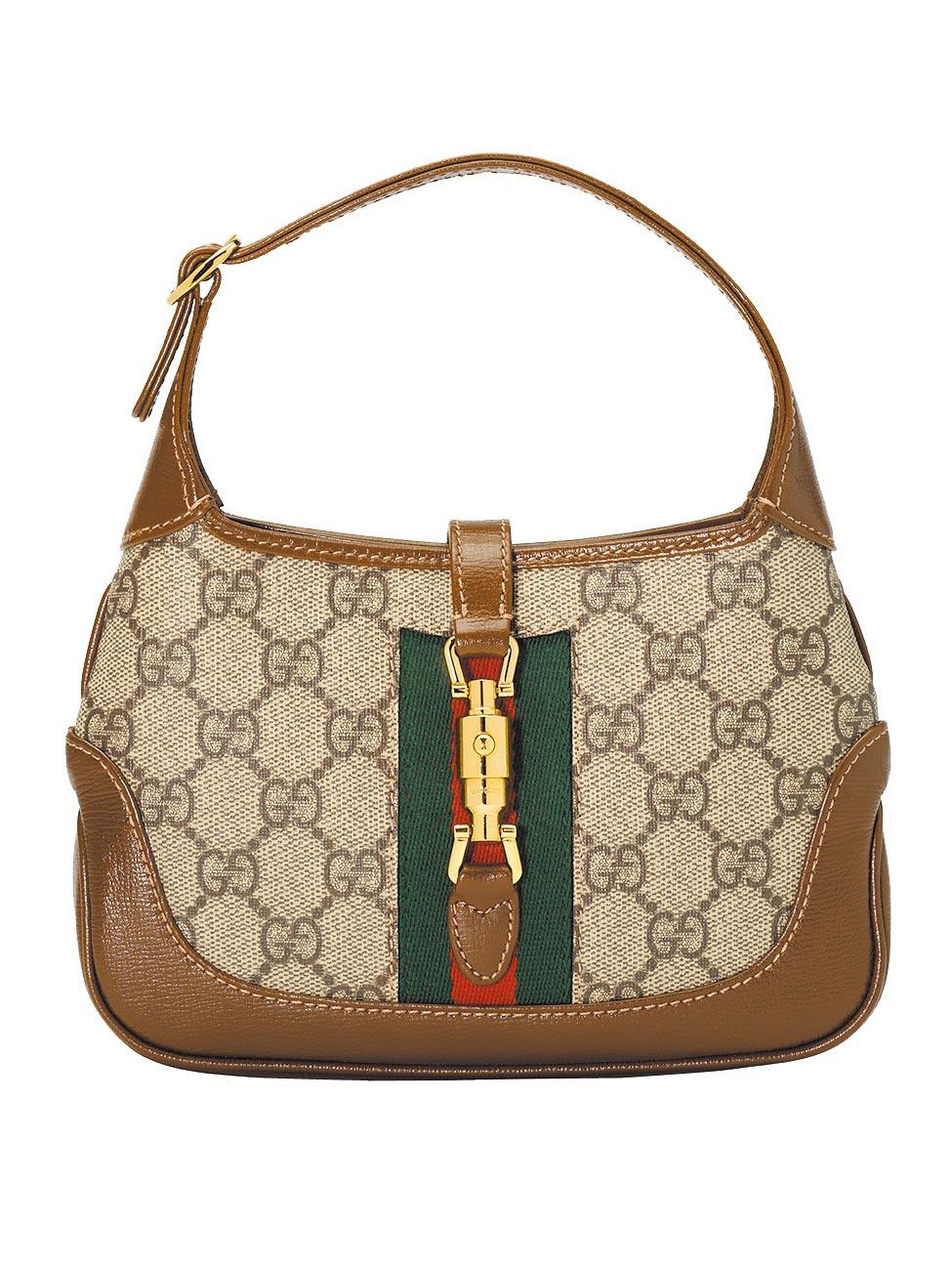 Gucci Jackie Bag經典Logo迷你肩背包,在1961年爆紅,並於今年推出迷你尺寸,5萬500元。(Gucci提供)