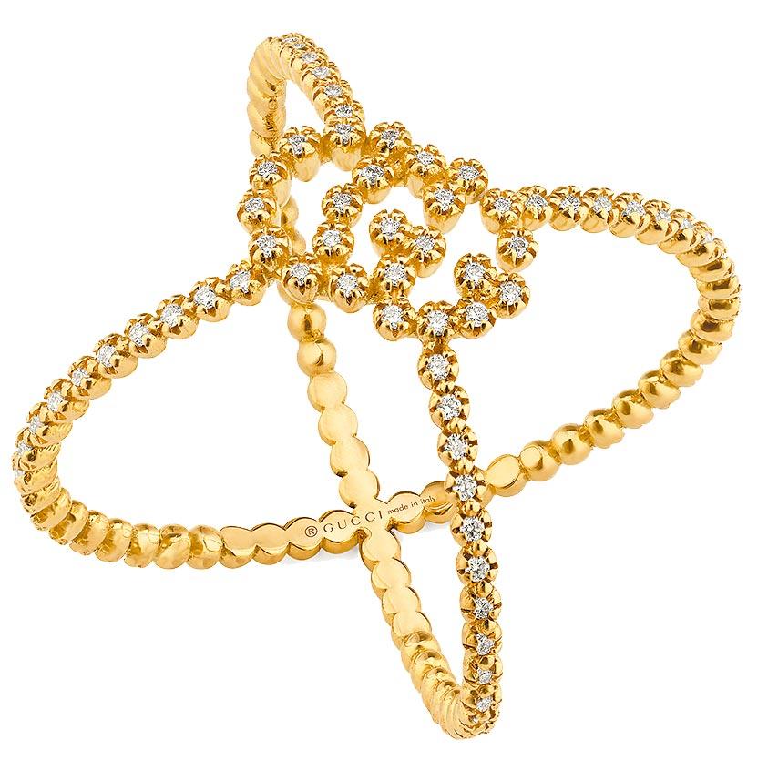 Gucci GG Running系列 18K黃金G字鑽石戒指,戒寬10mm,8萬8800元。(Gucci提供)
