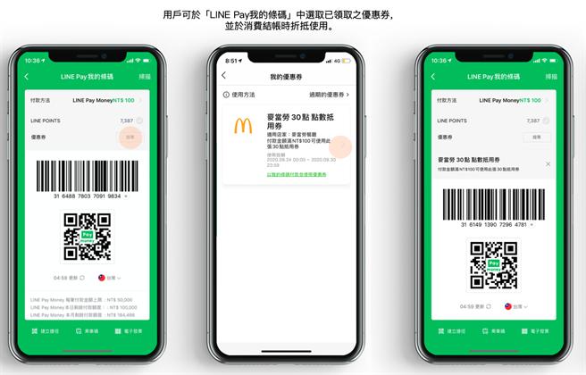 用户可于「LINE Pay我的条码」中选取已领取之优惠券,并于消费结帐时折抵使用。(LINE Pay提供/黄慧雯台北传真)