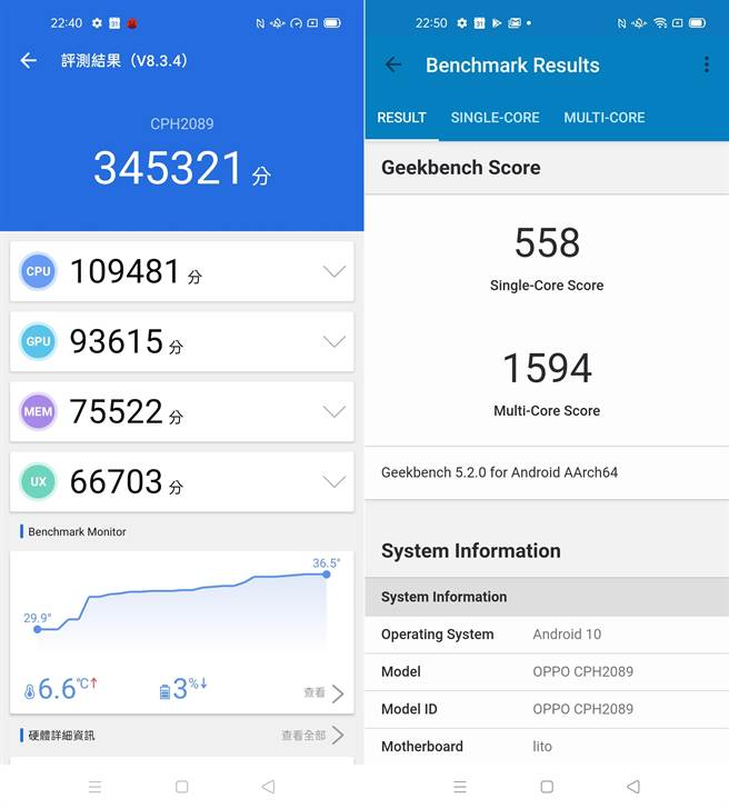Reno4 Pro在安兔兔評測(左)以及GeekBench 5的跑分結果。(手機截圖)
