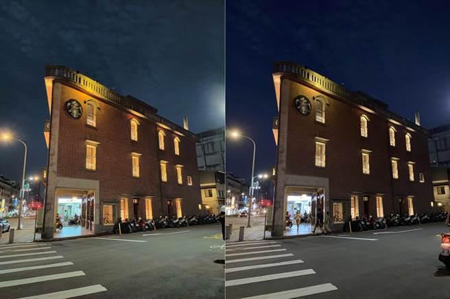 OPPO Reno4 Pro(左)與iPhone 11 Pro Max夜間實拍對比(1)。(黃慧雯攝)