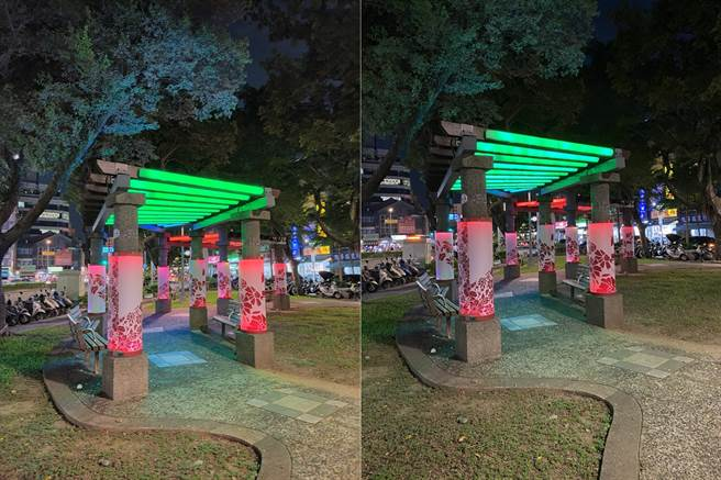 OPPO Reno4 Pro(左)與iPhone 11 Pro Max夜間實拍對比(2)。(黃慧雯攝)