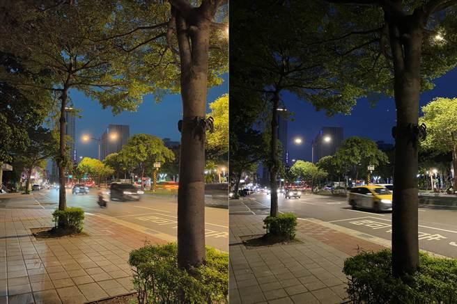 OPPO Reno4 Pro(左)與iPhone 11 Pro Max夜間實拍對比(3)。(黃慧雯攝)