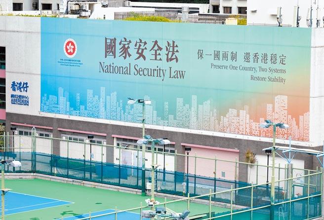 台灣人投資香港,得正視《國安法》可能的稅制變動風險。圖為香港國家安全法宣傳廣告。(中新社)