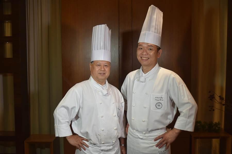 台北喜來登飯店〈辰園〉餐廳主廚鍾安富(左)和燒臘主廚楊華廣,每隔一段時間就會聯手推出新菜式,而〈辰園〉也是最多鵝餚的粵菜餐廳。(圖/姚舜)
