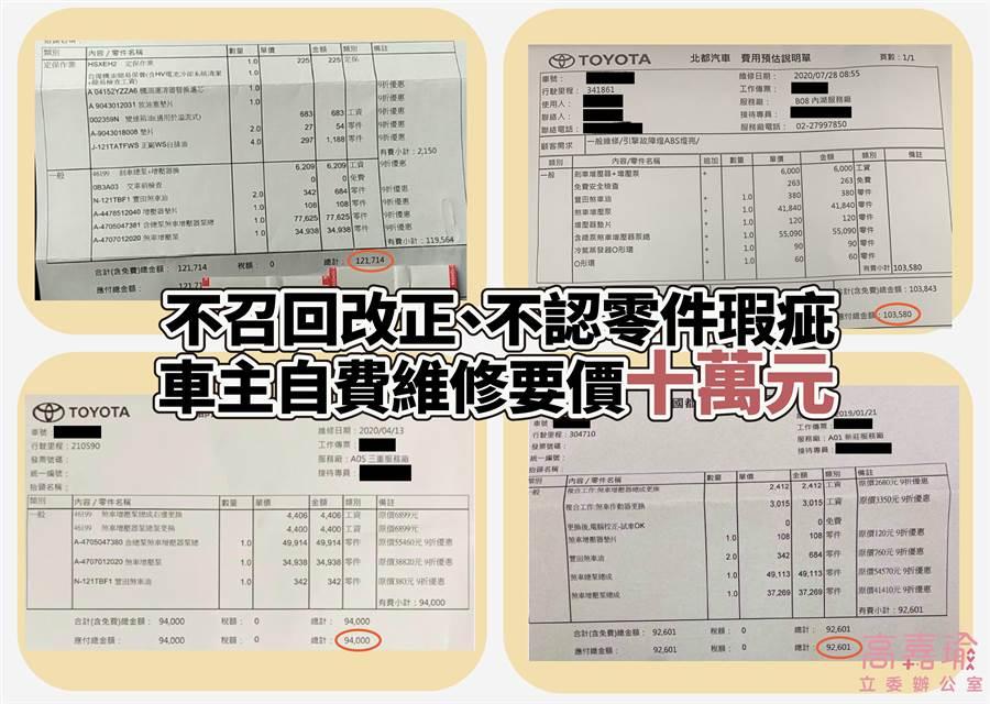 立委高嘉瑜今日舉行「油電車煞車失靈事件頻傳」和泰汽車擺爛兩年未發布召回記者會。(圖/高嘉瑜辦公室提供)