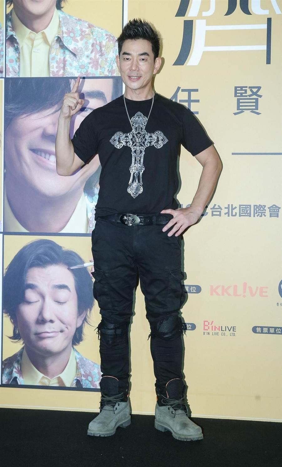 任賢齊昨演唱會後受訪。(粘耿豪攝)