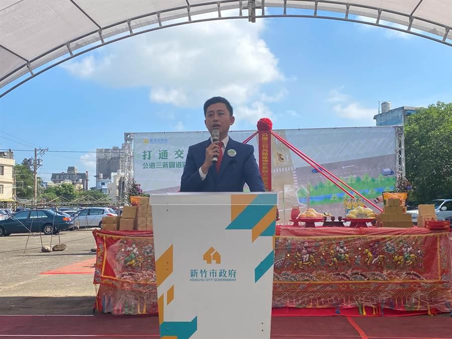 新竹市長林智堅感性致詞感謝團隊長期努力與居民的配合,希望2022年通車後,打通新竹市外環道路系統。(陳育賢攝)