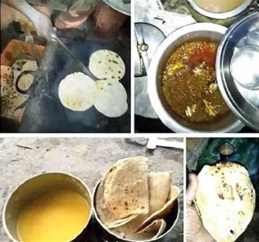 大陸微博流傳的印軍邊境部隊伙食,確實顯得簡陋,但有網友表示,烤餅咖喱本就是印度日常伙食,不必大驚小怪。(圖/微博)
