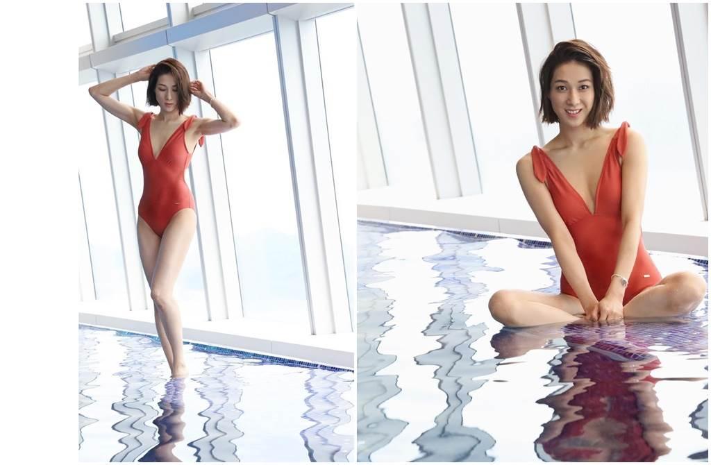 鍾嘉欣辣穿泳裝,深V和開高衩設計讓她的好身材全都露。(圖/取材自鍾嘉欣 Linda Chung臉書)