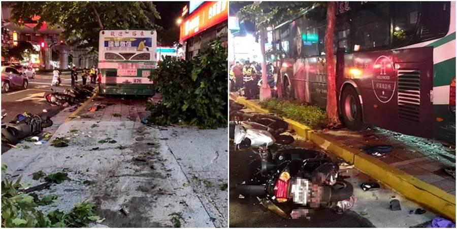 公车撞击过后的人行道一片狼藉,也造成一名民眾死亡。(图/北市消防局提供)